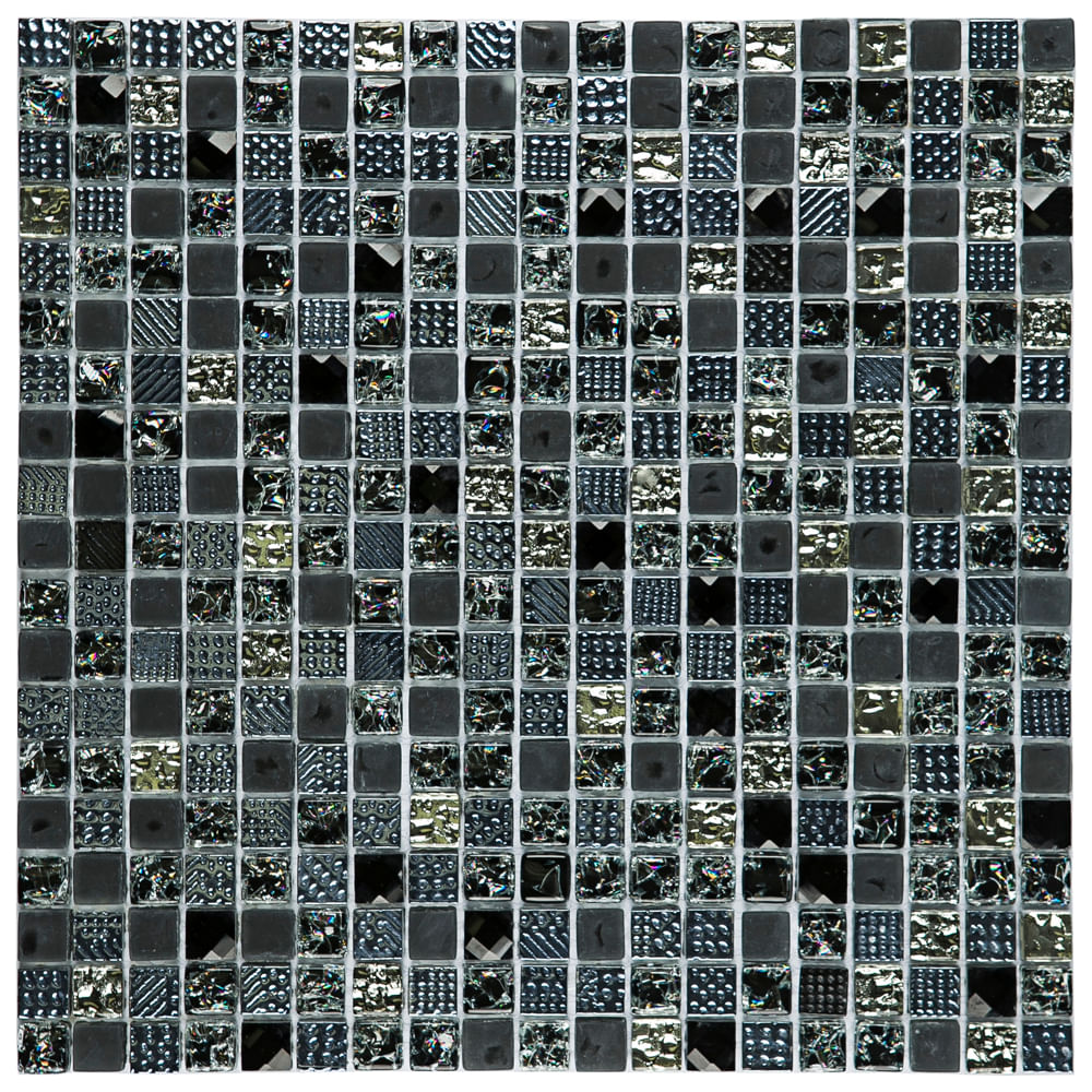 Pastilha Glass Mosaic D1012 Diamond Preto 31x31 - revesteonline