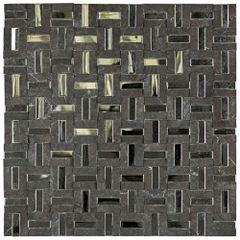 PASTILHA-GLASS-MOSAIC-MR48-MARMORE-NEGRO-MAQUINA-ACO-INOX-BRUTO---MATTE-305X305